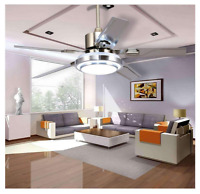 """52"""" Stainless Steel 5Blade Ceiling Fan Lamp Remote Control LED Dimmer Chandelier"""