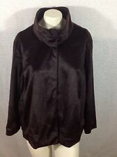 Jaclyn Smith Jacket XL Brown Faux Fur Lined High Collar 3 Snap Closure NEW w TAG