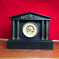 1865 Antique French Black Marble Mantle Clock 7 Day