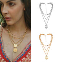 Clavicle Chain Choker Jewelry Multilayer Women Pendant Gold Plated Necklace
