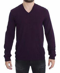 NEW DOLCE & GABBANA Sweater Pullover Purple Rayon Logo V-neck Top IT48 / M