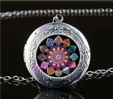 Mandala of Unity Cabochon Glass Tibet Silver Locket Pendant Necklace