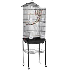 """Rolling Metal Bird Cage with Detachable Stand Large Parrot Cage w/ Stand 62.4"""""""