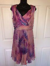Suzi Chin Pleated Pink Printed Multi Wrap Dress Sz 8