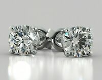 REAL 14K WHITE GOLD 2 CARAT DIAMOND ROUND CUT STUDS POST PUSH BACK EARRINGS $895