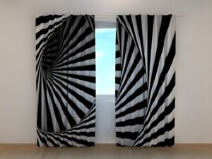 Photo Curtain Printed Black and White Spiral by Wellmira Made to Measure