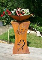 Rost Säule Katze Edelrostsäule Gartendeko mit Schale - Motiv beidseitig