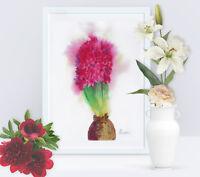 Scarlet Hyacinth, Watercolor Original, flower, floral, art, spring, botanical