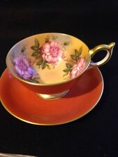 Vintage Aynsley Burnt Orange/ Pink Cabbage Roses 0n inside of Tea Cup And Saucer