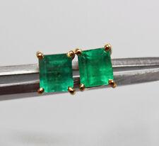 AAAA+ Quality 1.00ct Emerald-Cut Columbian Small Emerald Stud Earrings 18K Gold