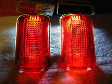 Tail Lamp Light Vintage Glass Lens Lynx Eye T 365 1940 Plymouth One Pair w box