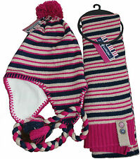 Peruvian Style Knitted Fleece lined Hat Wristwarmers & Scarf  Set   RRP 29.99
