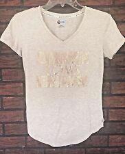 Target for Toms T-Shirt Extra Small Bronze Glitter Gold Go Somewhere New V-Neck