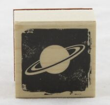 Planet Wood Mounted Rubber Stamp Hero Arts NEW space rings art solar globe body
