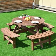 "43.5"" Dia. Table Top Patio 8 Seat Fir Wood Picnic Dining Seat Bench Set"