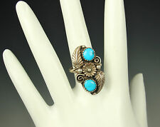 NAVAJO TURQUOISE Ring STERLING 1960s SIGNED AY Feathers Blossom Spirals Size 7