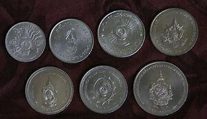 King Bhumibol Adulyadej Birthdays 7 Coin Set 1963 - 2011 Rama IX Thailand Siam