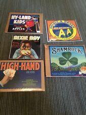 Fruit Crate Labels Lot, 5 Originals California, Washington