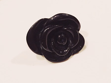 FASHION JEWELRY - Coco Mademoiselle Black Rose Resin Lucite Cocktail Ring 7