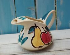 Vintage Purinton pottery milk pitcher apple pear cream teal blue accent cheerful