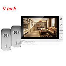 9 inch Color LCD Video Door Phone Doorbell Intercom System 2 Night Vision Camera