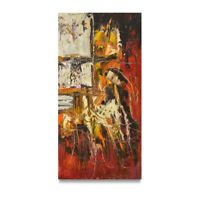 NY Art - Thick Art Brut Modern Abstract 12x24 Original Oil Painting on Canvas