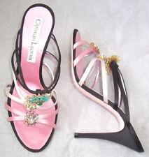 CHRISTIAN LACROIX Pink Black Satin Jeweled Crystal Slides Sandals Shoes 9.5