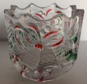 Celebrations By MIKASA Christmas Holiday Bells Crystal Votive Candle Holder NIB