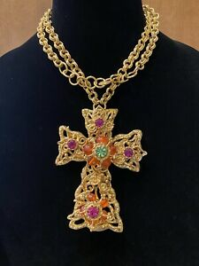 Rare Vintage MASSIVE Christian Lacroix Runway Multi Stone Cross Pendant Necklace