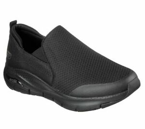 Slip on Skechers Shoes Black Extra Wide Comfort Casual Men Mesh Arch Fit 232043