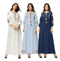 Autumn Women Ethnic Embroidery Abaya Muslim Long Maxi Dress Islamic Kaftan Robes