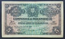 Mozambique 5 Libras Esterlinas banknote 1934 perforated 5.11.1942