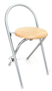 Beech Folding Round Seat wooden Folding Chair Bar Stool Breakfast Kitchen Office
