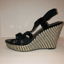 Charles by Charles David Wedges Black and Tan Striped 9.5 Womens Free Shipping