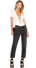 GRLFRND Linda Hot Stuff Crop Jeans sz 24 straight leg black denim