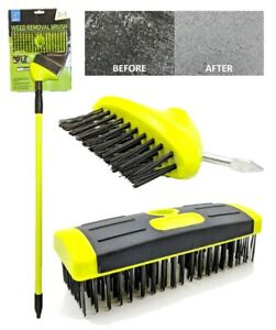 Telescopic Weed Brush Wire Broom Head Patio Deck Scrub Block Paving Moss Removal
