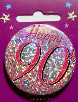 Small metal Birthday badge with safety pin, ages 70-100, party, brand new