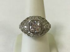 MEDA Sterling Silver Cz Cubic Zirconia Filigree Dome Ring Size 8