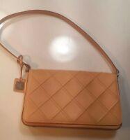 Lauren Ralph Womens Beige Tan Shoulder Handbag Purse Small Leather