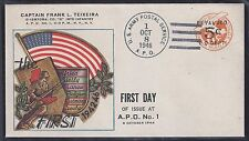 US 1946 MILITARY FIRST DAY OF ISSUE AT APO NO 1 US ARMY POSTAL SERVICE CACHET &
