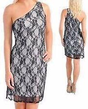 One Shoulder Lace Dress Grey/Black Jr Plus Sz 1XL NWOT Made In USA