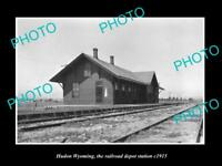 OLD LARGE HISTORIC PHOTO OF HUDSON WYOMING, THE RAILROAD DEPOT STATION c1915