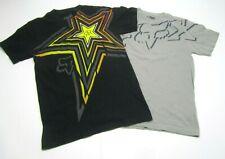 Lot of 2 Rockstar FOX Racing Energy Men's T-Shirt Size S Black Gray Cotton