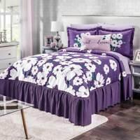 Groenlandia Black with Purple Floral Sherpa Comforter Set by Intima Hogar