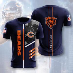 Chicago Bears Men Soft T-shirt Short Sleeve Top Tee Casual Sportswear S-5XL