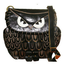 Genuine Leather Messenger Bag, Owl Design, Detachable Shoulder Strap/Black
