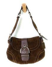 COACH Chocolate Brown Suede Hobo Shoulder Bag