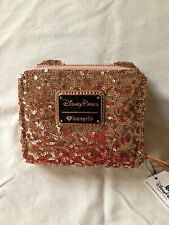 Disney Resort Loungefly Rosegold Sequin Minnie Mouse Wallet Nwt