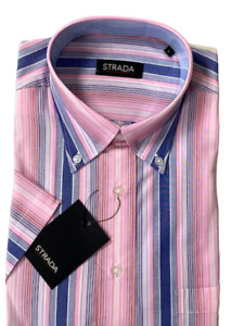 Shirt Mens Short Sleeve Strada Multi stripe Cotton