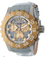 NWT Men's Invicta 12484 Reserve Grey Leather Carbon Fiber Dial Chronograph Watch